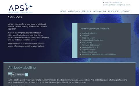 Screenshot of Services Page antibodyproduction.co.uk - services - Antibody Production - captured Oct. 3, 2018