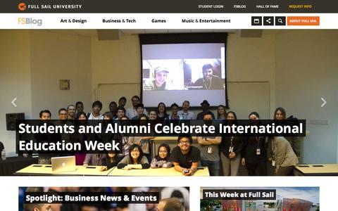 Screenshot of Home Page Blog fullsailblog.com - Full Sail University Blog - captured Dec. 5, 2015