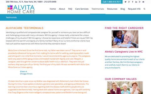 Screenshot of Testimonials Page alvitacare.com - Testimonials from our Clients | AlvitaCare NYC - captured May 29, 2017