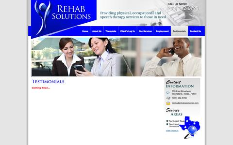 Screenshot of Testimonials Page therehabsolution.com - Physical Therapy, Occupational Therapy, Speech Therapy, Pediatric Therapy in Texas - Rehab Solutions - Testimonials - captured Oct. 2, 2014
