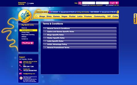 Screenshot of Terms Page galabingo.com - Gala Bingo Terms and conditions | Galabingo.com - captured Oct. 28, 2014
