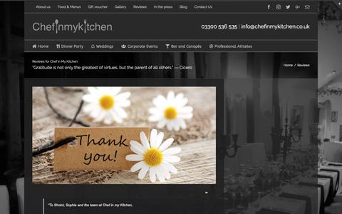 Screenshot of Testimonials Page chefinmykitchen.co.uk - Reviews - Chef in my Kitchen - captured Sept. 27, 2018