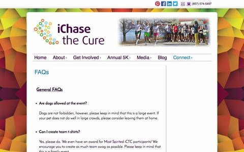 Screenshot of FAQ Page ichasethecure.org - FAQs - iChase the Cure - captured Sept. 30, 2014