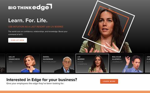 Screenshot of Signup Page bigthink.com - Big Think Edge + Sign Up - captured April 11, 2019