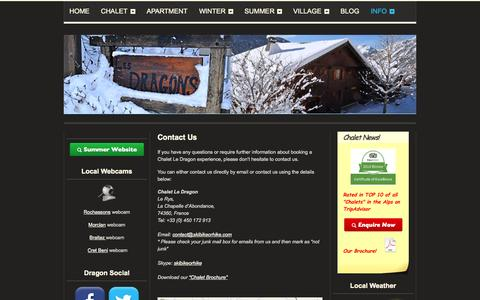 Screenshot of Contact Page skibikeorhike.com - Chalet Le Dragon | Luxury Catered Ski Chalet | Chatel | Contact Us - captured Oct. 26, 2014