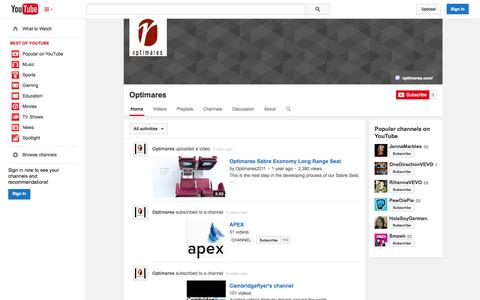 Screenshot of YouTube Page youtube.com - Optimares  - YouTube - captured Oct. 26, 2014