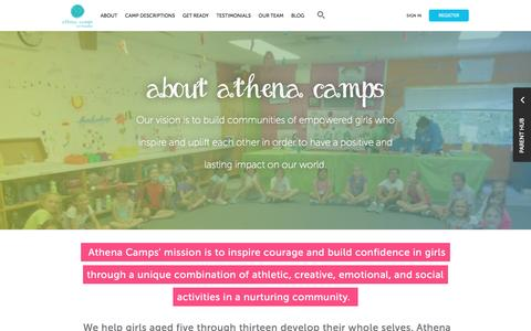 Screenshot of About Page athenacamps.com - Athena Camps - captured Feb. 6, 2016