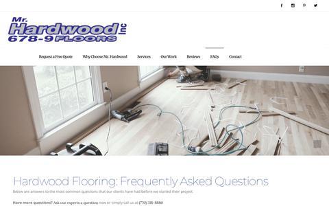 Screenshot of FAQ Page mrhardwoodinc.com - Hardwood Floor FAQs - Hardwood Flooring Installation & Refinishing - Mr Hardwood - captured Sept. 20, 2019