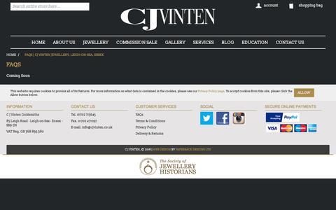 Screenshot of FAQ Page cjvinten.co.uk - FAQs   CJ Vinten Jewellery, Leigh-on-Sea, Essex   cjvinten.co.uk - captured Sept. 25, 2018