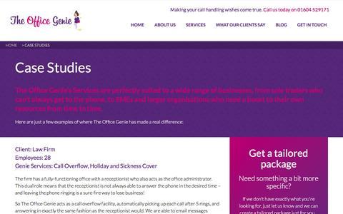 Screenshot of Case Studies Page theofficegenie.co.uk - Case Studies - The Office Genie - captured Aug. 14, 2016