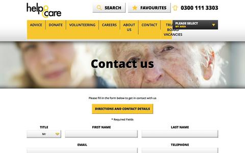 Screenshot of Contact Page helpandcare.org.uk - Contact us á Help & Care - captured Dec. 9, 2015