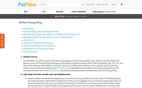 Screenshot of Privacy Page petflow.com - Privacy Policy | Petflow.com - captured Nov. 2, 2016