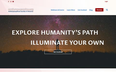 Screenshot of Home Page anthroposophy.org - Home - Anthroposophical Society in America - captured Oct. 3, 2018