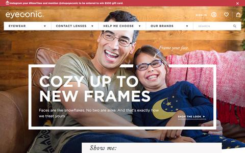 Screenshot of Home Page eyeconic.com - Eyeconic | Your Online Optical Store! Shop Contacts, Glasses, and Sunglasses. - captured Jan. 19, 2016