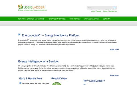 Screenshot of Home Page logicladder.com - LogicLadder   Energy, environment and asset intelligence - captured Sept. 16, 2014