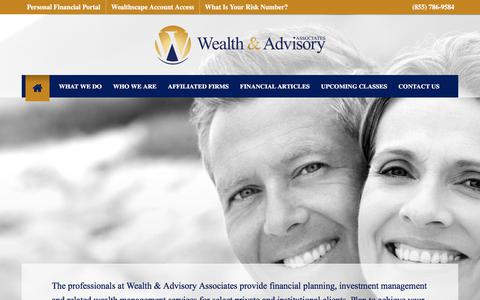 Screenshot of Home Page Contact Page Menu Page planwithadvice.com - Wealth & Advisory Associates | Financial Planning and Investment Management - captured Sept. 26, 2018