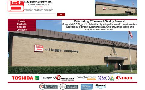 Screenshot of Home Page Products Page Services Page Locations Page cfbiggs.com - C. F. Biggs Company, Inc.  (800) 264-5333 - captured Sept. 25, 2018