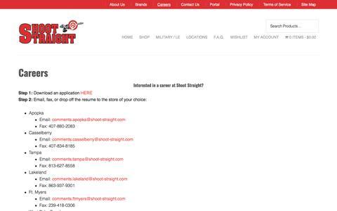 Screenshot of Jobs Page shoot-straight.com - Careers | Shoot Straight - captured Oct. 4, 2017