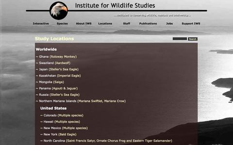 Screenshot of Locations Page iws.org - Study Locations - captured Feb. 11, 2016