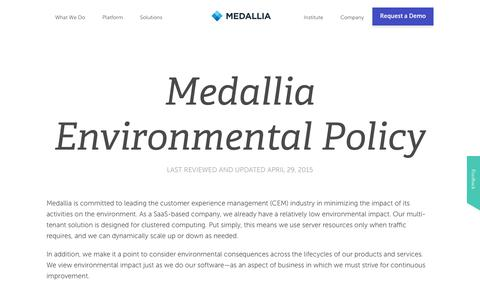 Environmental And Sustainability Policy | Medallia