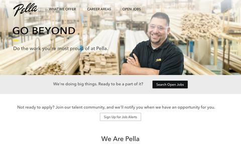 Screenshot of Jobs Page pella.com - Careers | Pella - captured Jan. 4, 2018