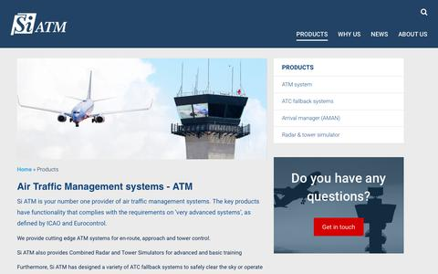 Screenshot of Products Page siatm.com - Air traffic control systems - ATC - captured June 13, 2017