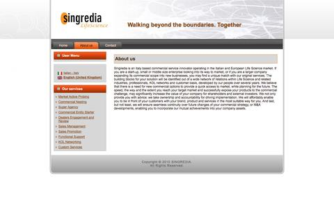 Screenshot of About Page singredia.com - About us - captured Oct. 26, 2014