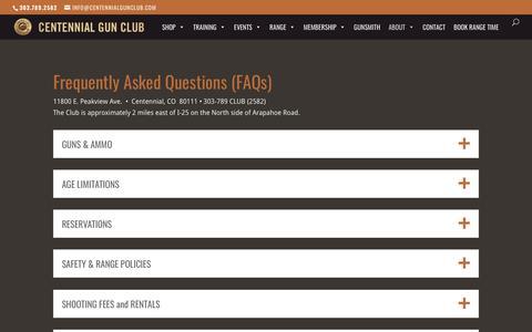 Screenshot of FAQ Page centennialgunclub.com - FAQs | Centennial Gun Club - captured July 16, 2018