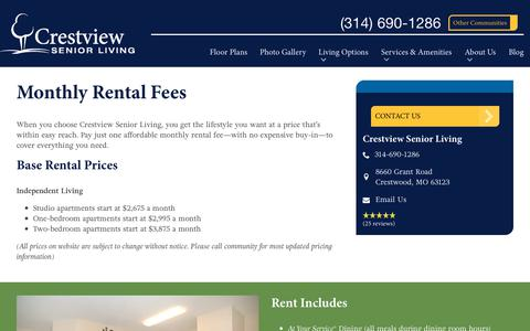 Screenshot of Pricing Page spectrumretirement.com - Monthly Rental Pricing | Crestview Senior Living - captured Oct. 23, 2018