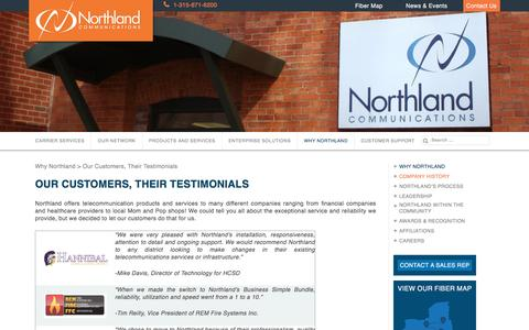 Screenshot of Testimonials Page northland.net - Our Customers, Their Testimonials - Northland Communications - captured Dec. 3, 2016