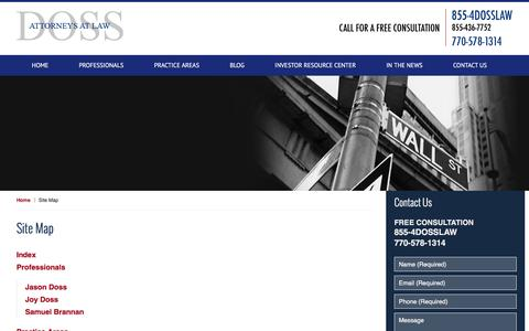 Screenshot of Site Map Page dossfirm.com - Site Map :: Atlanta, Georgia Business Lawyer Doss Firm, LLC - captured Nov. 30, 2016