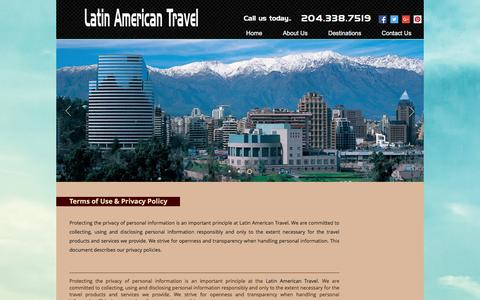Screenshot of Terms Page latinamericantravel.ca - latinamerican | Terms of use - captured May 15, 2017