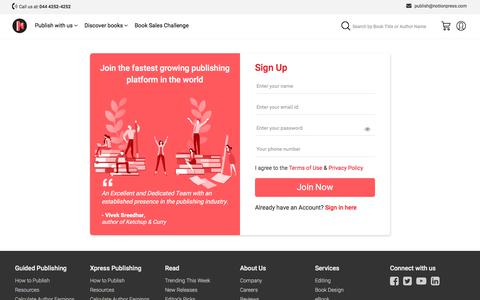 Screenshot of Signup Page notionpress.com - Get your book published right away | Sign up for free - captured July 20, 2019