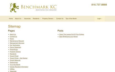 Screenshot of Site Map Page benchmark-kc.com - Sitemap |Benchmark Kansas City - captured Oct. 5, 2018