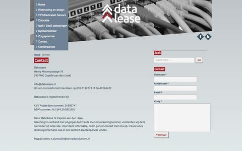 Screenshot of Contact Page datalease.nl - Contact | Datalease - captured Sept. 30, 2014