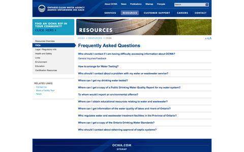 Screenshot of FAQ Page ocwa.com - Ontario Clean Water Agency | FAQs | Ontario Clean Water Agency - captured Oct. 7, 2014