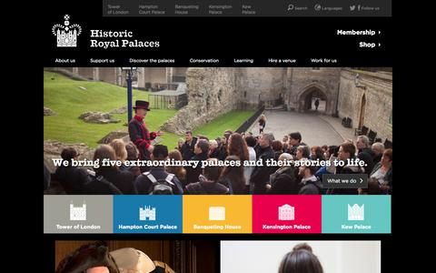 Screenshot of Home Page hrp.org.uk - Find Out About Historic Royal Palaces, Official Site - captured Sept. 19, 2014