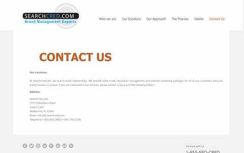 Screenshot of Contact Page searchcred.com - CONTACT US | Brand & Reputation Management Experts - captured Sept. 19, 2014