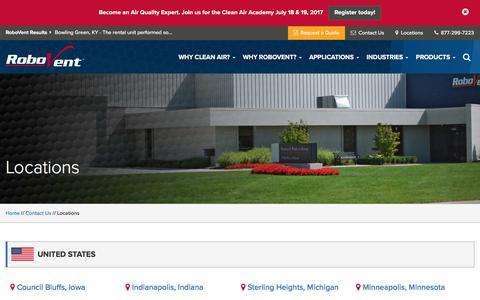 Screenshot of Locations Page robovent.com - RoboVent Locations - captured June 22, 2017