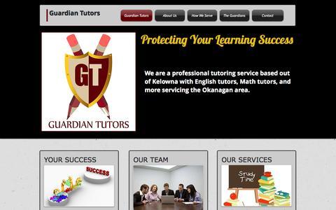 Screenshot of Home Page guardiantutors.ca - Guardian Tutors in Kelowna - captured Sept. 30, 2014