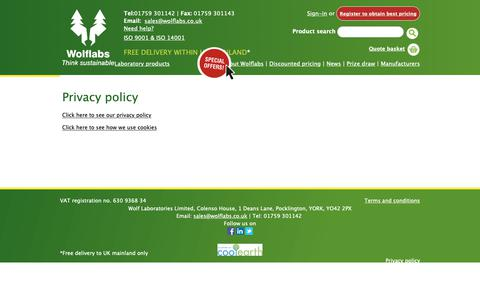 Screenshot of Privacy Page wolflabs.co.uk - Privacy policy - captured Oct. 18, 2018