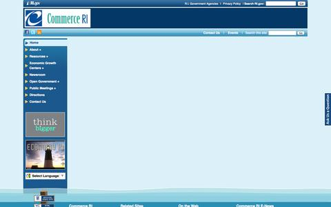 Screenshot of Menu Page commerceri.com - Commerce RI: - captured Oct. 27, 2014