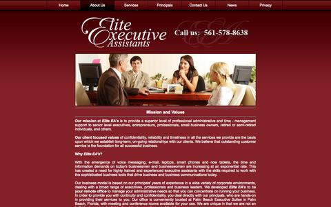 Screenshot of About Page eliteea.com - South Florida: Business Services: Executive Assistants: EliteEA: About - captured Oct. 27, 2014