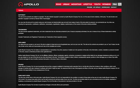 Screenshot of Terms Page apollobikes.com - Terms - Apollo Bikes - captured Feb. 6, 2016