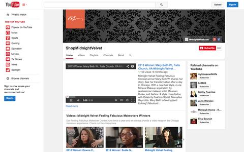 Screenshot of YouTube Page youtube.com - ShopMidnightVelvet  - YouTube - captured Oct. 31, 2014