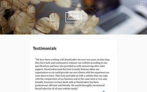 Screenshot of Testimonials Page stuntcoders.com - E-commerce development at it's finest — StuntCoders - captured Aug. 16, 2015