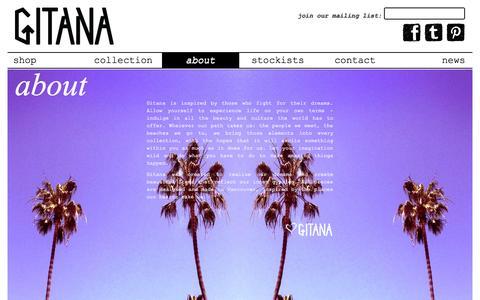 Screenshot of About Page gitanaoutfitters.com - Gitana Outfitters - captured Sept. 30, 2014