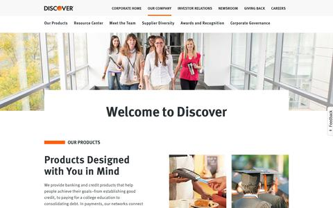Discover - Our Company | Discover Card