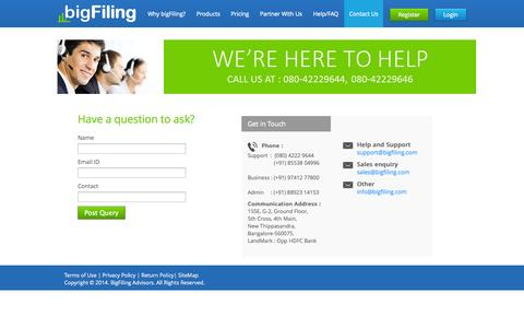 Screenshot of Contact Page bigfiling.com - Contact Us - BigFiling MCA XBRL Software Tool India - captured Sept. 30, 2014