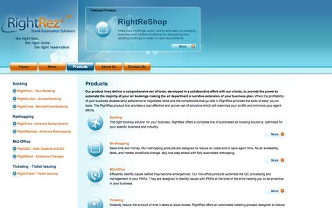 Screenshot of Products Page rightrez.com - RightRez, Inc. >> Products - captured Oct. 7, 2014